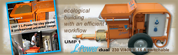 clay plaster machine UMP1 L-Power dual 230V-400V switchable